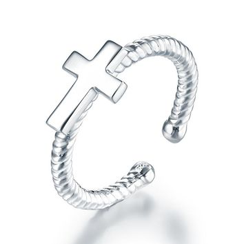 Kids Girls Cross Ring Solid 925 Sterling Silver Children Jewelry Adjustable
