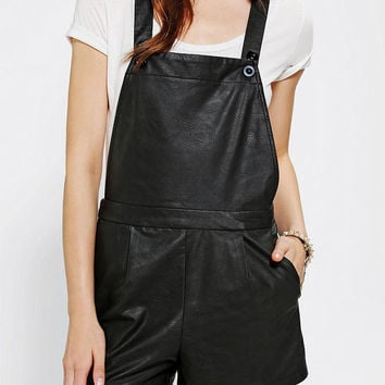 Sparkle & Fade Vegan Leather Overall Short