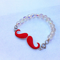 Red mustache beaded bracelet, mustache bracelet, stackable bracelet, layering bracelet, red mustache bracelet, fun jewelry, beaded bracelet