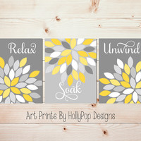 Yellow Gray Wall Art Set of 3 Prints Bathroom Wall Art Spa Decor Relax Soak Unwind Flower Dahlia Pictures Floral Trio Modern Abtract #1043
