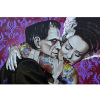 Lowbrow Undying Love Art Print by Artist Mike Bell