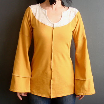 Sunshine Cast a Spell - iheartfink Handmade Hand Printed Womens Long Bell Sleeves Sunny Mustard Yellow and White Jersey Top