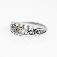 Heart filigree ring, citrine ring, white gold, yellow gold, citrine wedding ring, unique, filigree engagement, vintage style, yellow wedding