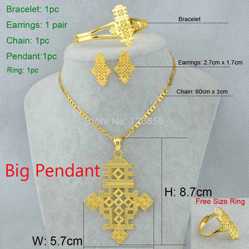 With Black Rope 50cm With 45cm X3cm Chain Ethiopian Cross Big Size Pendant/Necklace/Earring/Bangle/Ring Set Jewelry Eritrea Habesha Coptic 22k Gold Plated African Women