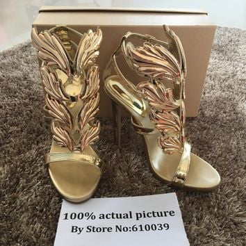 Hot sell women high heel sandals gold leaf flame gladiator sandal shoes party dress sh