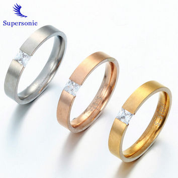 Classic CZ Stone Stainless Steel Engagement Ring lovers promise Ring For Men Women Copule Ring