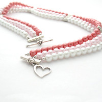 Multi Strand Necklace Pink Red & White Choker by MoonlightShimmer