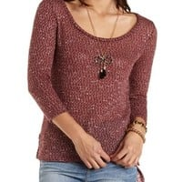 Sweater Knit Zippper-Trim High-Low Top by Charlotte Russe