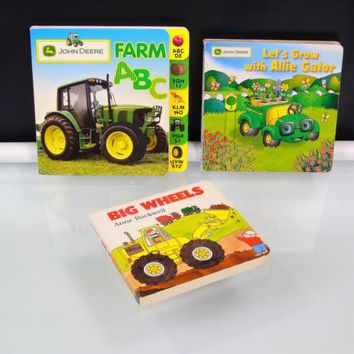 Toddler Book Lot John Deere Farm ABC Let's Grow with Allie Gator Big Wheels