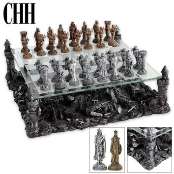 """CHH Knight Theme Chess Board Classic Strategy Game Set King 3-1/4"""" Tall NEW"""