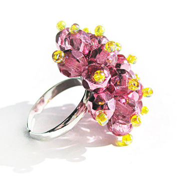 Hot Pink Stardust Cocktail Ring - Limited Edition Statement Ring - Metallic pink expandable ring, Sparkling pink funky ring, bff unique gift
