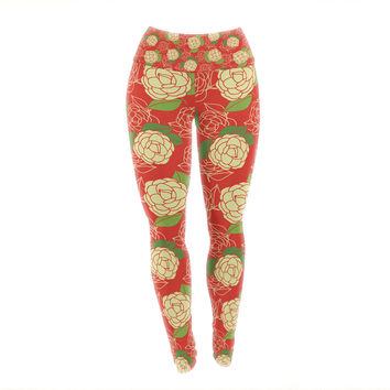 "Holly Helgeson ""Cammelia"" Red Yellow Yoga Leggings"