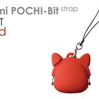POCHI Bit Strap Cat Ver. Earphone Jack Accessory Silicone Purse (Red)