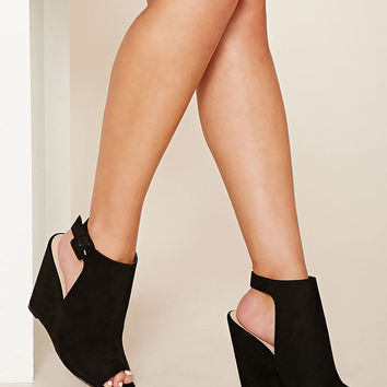 Faux Suede Open-Toe Wedges
