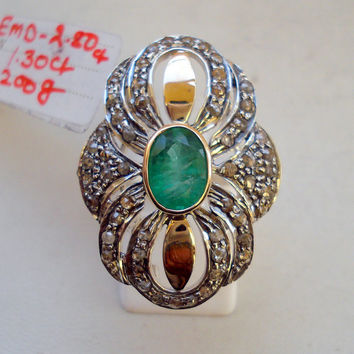 victorian diamond emerald 14k gold sterling silver cocktail ring handmade