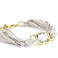"Ettika ""Vintage Ribbon"" Grey Bracelet Gold Rectangular Gem: Jewelry: Amazon.com"