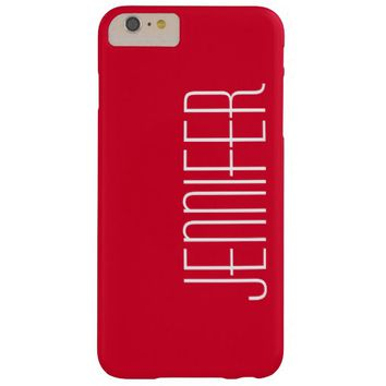 Bright Cherry Red, Personalized Jumbo Custom Name Barely There iPhone 6 Plus Case