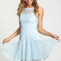 Blue Mesh High Neck Mermaid Dress - LoveCulture