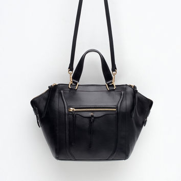 LEATHER CITY BAG WITH ZIPS