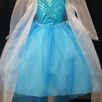 Girls Disney FROZEN Elsa The Ice Queen Turquoise Blue White cape Sequin Tulle Costume pageant Party dress