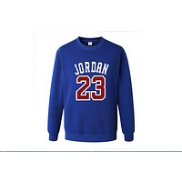 Jordan Men's sweater jacket Europe and the United States leisure collar round neck blue
