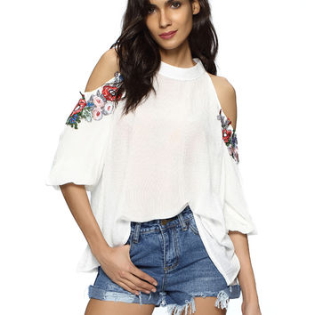 White Cold Shoulder Embroidery Keyhole Back Blouse