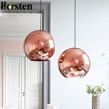 Globe Glass Pendant Silver Gold Copper Color Lamp