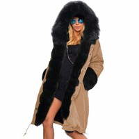 New Women Down Cotton Coat Outwear Long Wadded Female Winter Jacket Thick Large Fur Hooded Warm