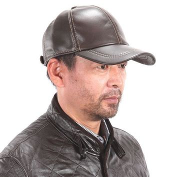 New Men's / Women's 100% Real Leather Hat/Golf Hats/Baseball Cap * Black@Brown