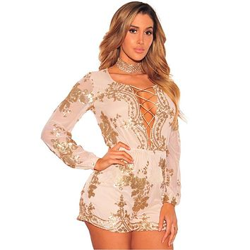 New Celeb Slim Shorts Women Jumpsuit Solid Sequin Rompers Women Jumpsuit Party Playsuits 5137
