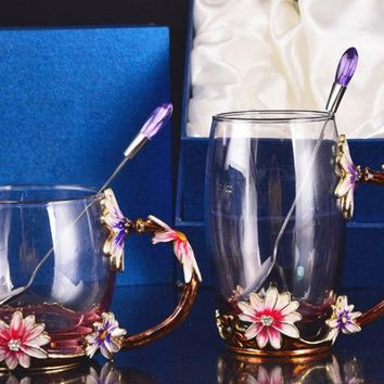Flowers Decoration Cute Drinking Wine Glasses Champagne Glass Goblets Cup