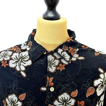Retro Walmart Hawaiian Print Floral Smart Shirt XL