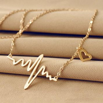 Wave Heart Pulse Plated Charm Pendant Necklace