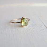 Tear Drop Peridot Ring in 14k Gold