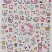 Kawaii Japan Big Sticker Sheet Assort - Sanrio Hello Kitty Sweets Chocolate Candies Biscuit Ribbon Lace 100 Pieces