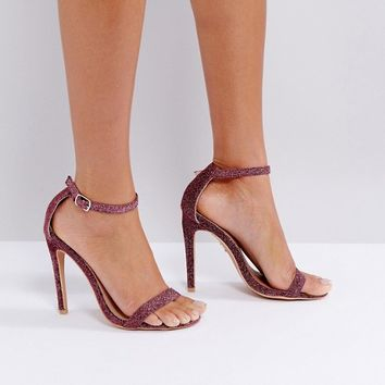 Lost Ink Pink Sparkle Barely There Sandals at asos.com
