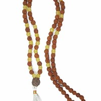 Mogul Japa Mala Necklace Siddhi Jewels Rudraksha Yellow Jade Prayer Yoga Beads
