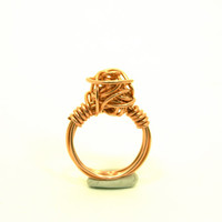 Large Love Knot Ring Copper Wire Wrapped Size 7