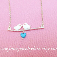 Silver two birds on a branch necklace with turquoise heart - Bird on branch necklace - Love birds necklace - Silver bird necklace