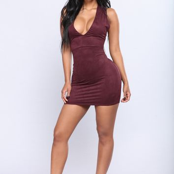 For Sure Suede Dress - Plum