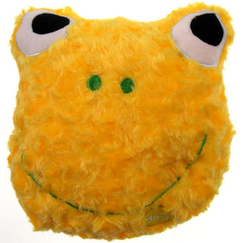 "Yellow Frog Pillow Color LED Light Up Flash Plush 9"" Microbeads Home Bed Decor"