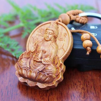Natural Rosewood Hand Carved Avalokitesvara Buddhist Key Holder