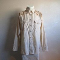 1970s Western Pearl Snap Mens Shirt Vintage Beige Floral Crewel Embroidery 70s Arrow Long Sleeve Shirt LRG