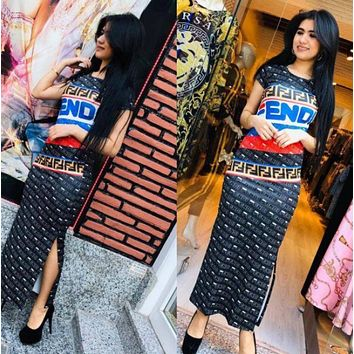 Fendi New fashion more letter print shorts sleeve dress women
