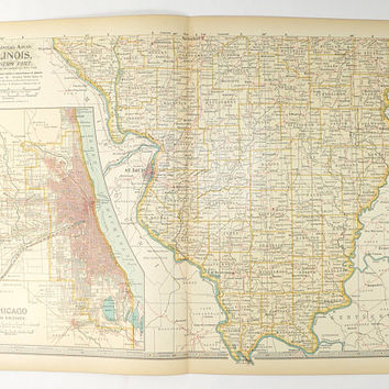 1899 Southern Illinois Map, Vintage Art Map, Chicago Illinois, 1899 Century Map Illinois, Office Gift for Coworker, Illinois Gift, IL Map
