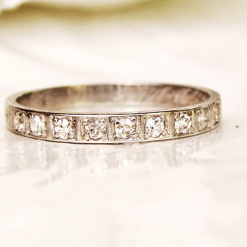 Platinum Antique Diamond Wedding Band Old Cut Diamond Antique Wedding Ring Art Deco Diamond Stacking Ring Size 6.5