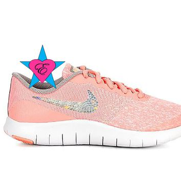 Crystal Rhinestone Girls Nike Flex Contact Pink | 3.5 - 7