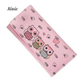Women Leather Wallet Simple Retro Cute Owl Printing Long Wallet Coin Purse Card Holders Handbag Women Fashion Money Wallet