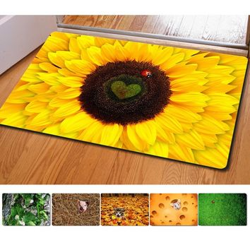 Bedroom Floor Mats Slip-resistant Entrance Doormate Pad Sunflower Cute Cat Print Horse Kitchen Carpet for Living Room