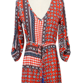 Red V-neck Tribe Pattern Romper